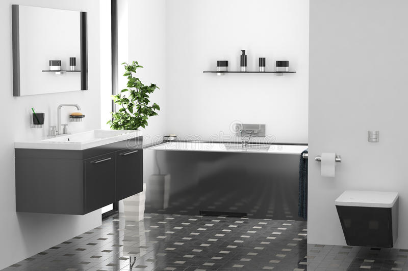 Modern bathroom. 3d render modern bathroom interior stock illustration