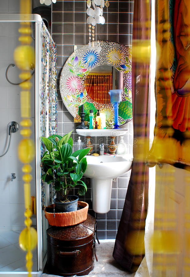 Modern bathroom. With mosaic tiles on wall stock image