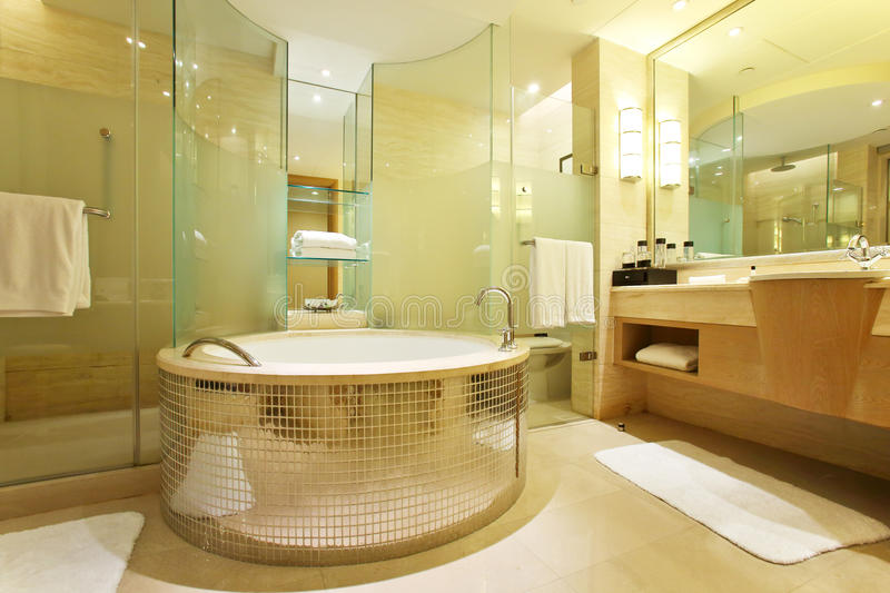 Modern bathroom. The modern bathroom of five star hotel royalty free stock image