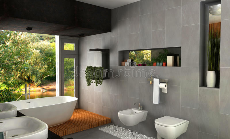 Modern bathroom. Interior design rendering of modern spa bathroom vector illustration