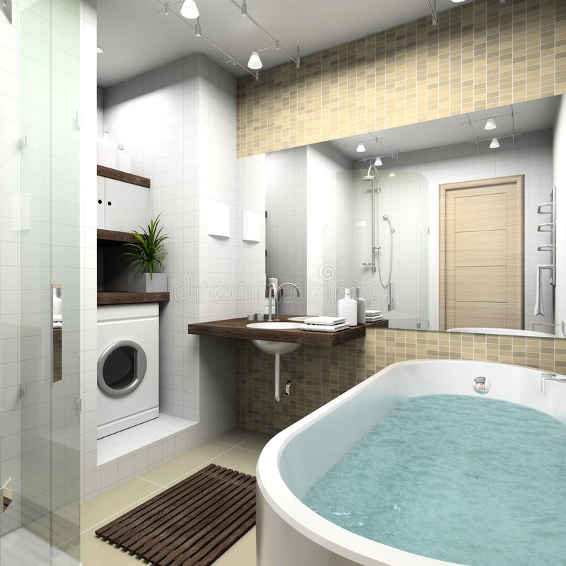 Modern bathroom. 3D render royalty free stock photography