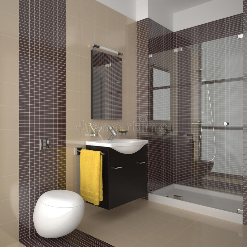 Modern bathroom with beige and brown tiles. Contemporary bathroom with beige and brown tiles vector illustration