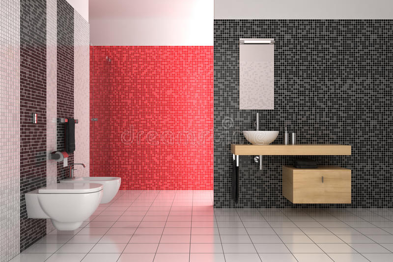 B And Q Red Bathroom Tiles : Modern bathroom with black red and white tiles stock