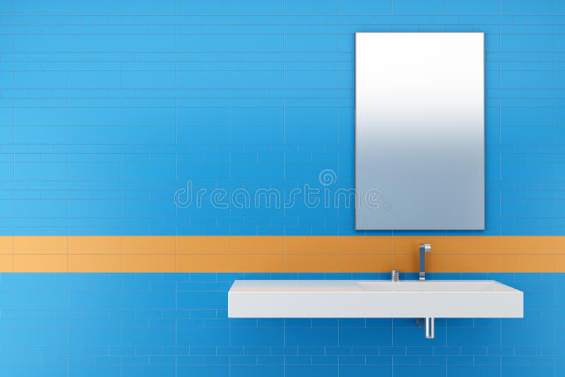 Modern bathroom with blue and orange tiles stock for Blue and orange bathroom