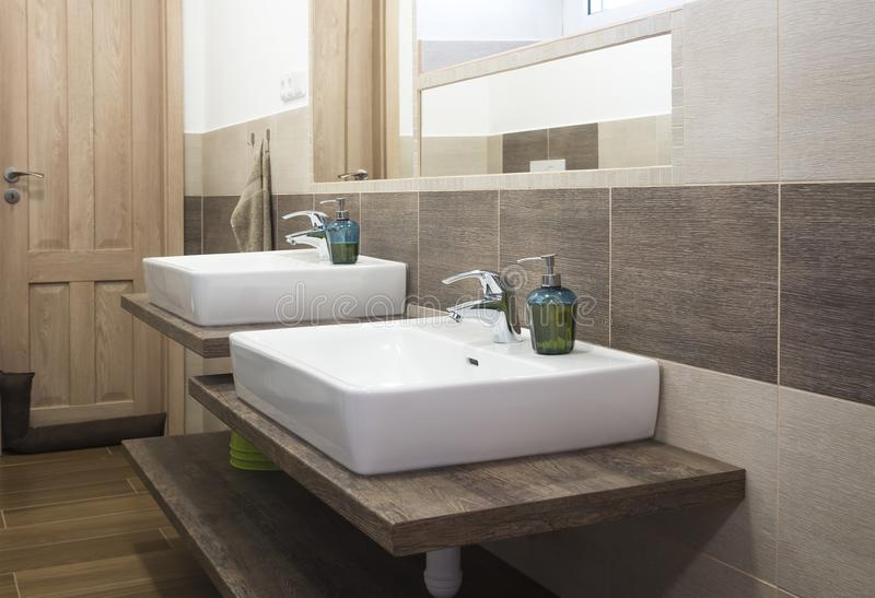 modern bathroom with a children`s sink royalty free stock photography