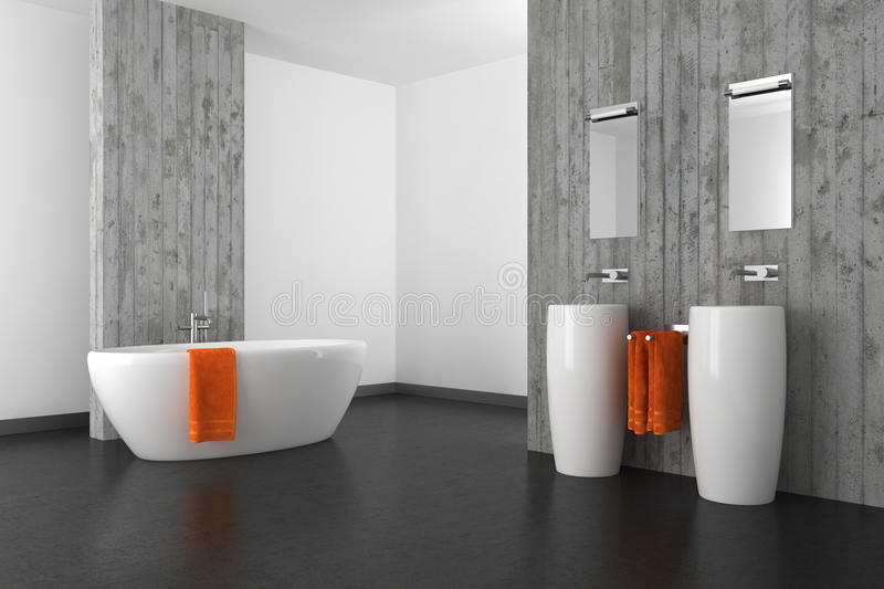 Modern bathroom with concrete wall and dark floor stock illustration