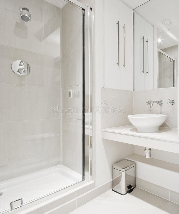 Modern Bathroom With Corner Shower Royalty Free Stock Photography ...