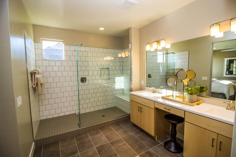 Modern Bathroom With Glass Walk In Shower royalty free stock image