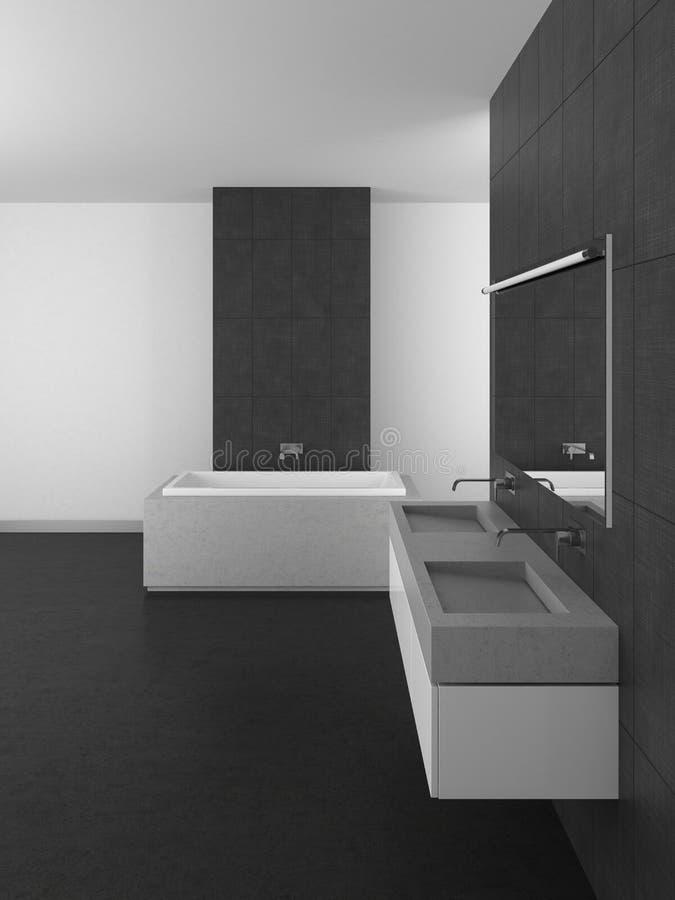 Modern bathroom with gray tiles and dark floor vector illustration