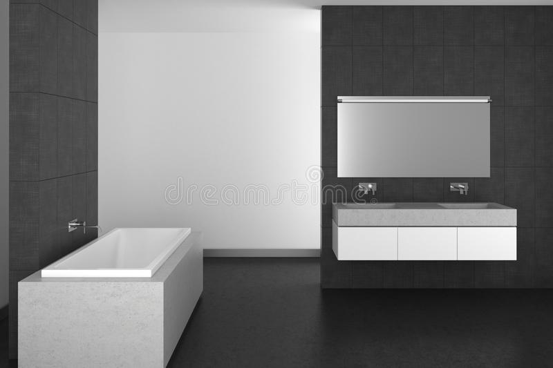 Modern bathroom with gray tiles and dark floor royalty free illustration