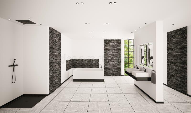 Modern bathroom interior 3d render royalty free illustration
