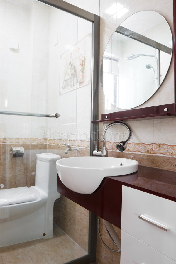Modern bathroom interior. There is the modern bathroom interior stock photography