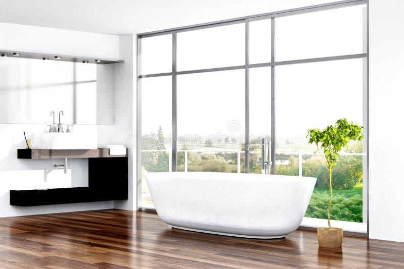 Modern bathroom interior with bathtub against window stock illustration