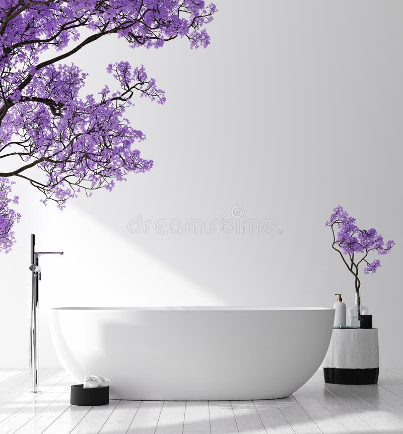 Modern bathroom interior with blossom tree, poster wall mock up. 3d render royalty free stock photos