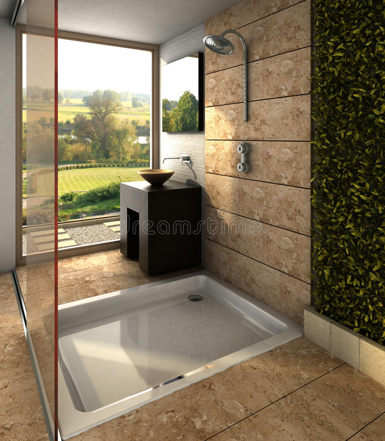 Modern bathroom. Interior design rendering of modern spa bathroom with light colors and wooden features and great view stock image