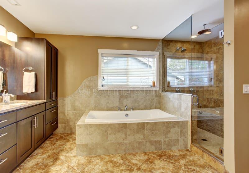 Modern Bathroom Interior With Glass Door Shower Stock Photo - Image ...
