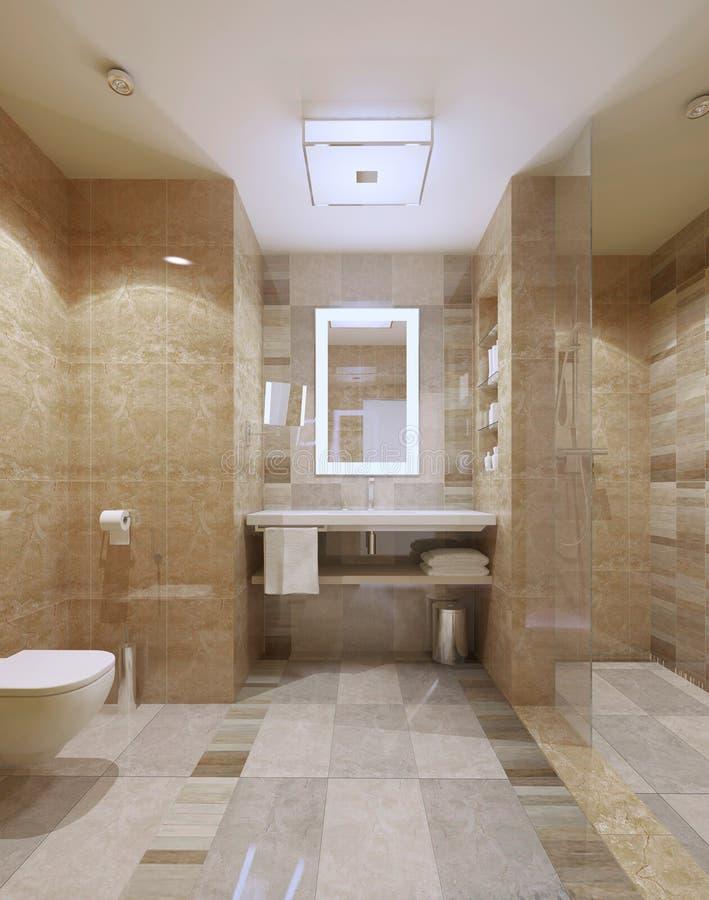 Modern Bathroom interior with marble tiles vector illustration