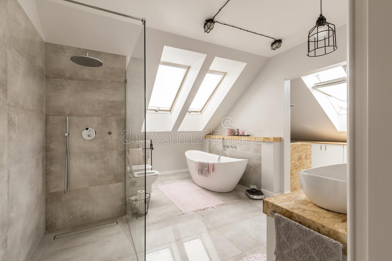 Modern bathroom interior with minimalistic shower stock images