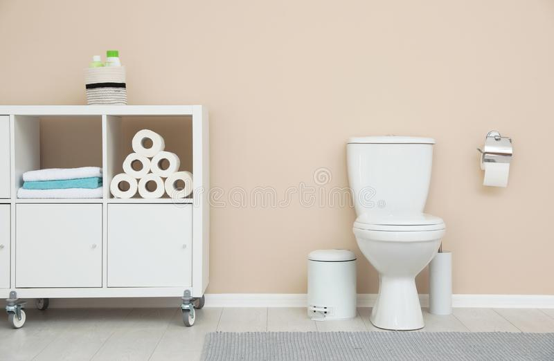 Modern bathroom interior. Storage of toilet rolls. Modern bathroom interior. Storage of toilet paper rolls royalty free stock images