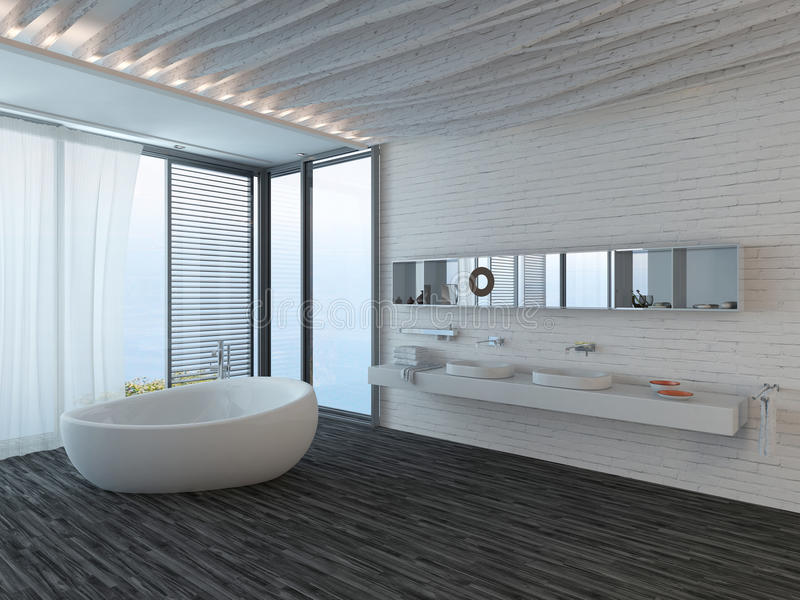Download Modern Bathroom Interior With Window And Snowy Landscape View Stock Illustration