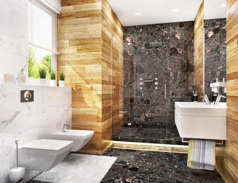 Modern bathroom with large shower and window. Bathroom with large shower and window royalty free stock photo
