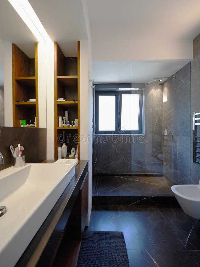 Modern bathroom in luxury apartment royalty free stock photo