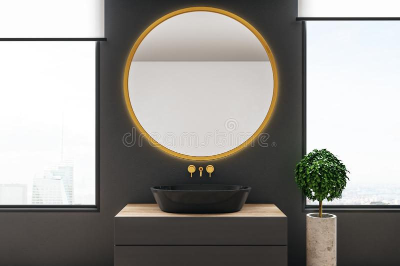 Modern bathroom with mirror. Modern bathroom interior with round mirror and copy space, city view and daylight. 3D Rendering stock illustration