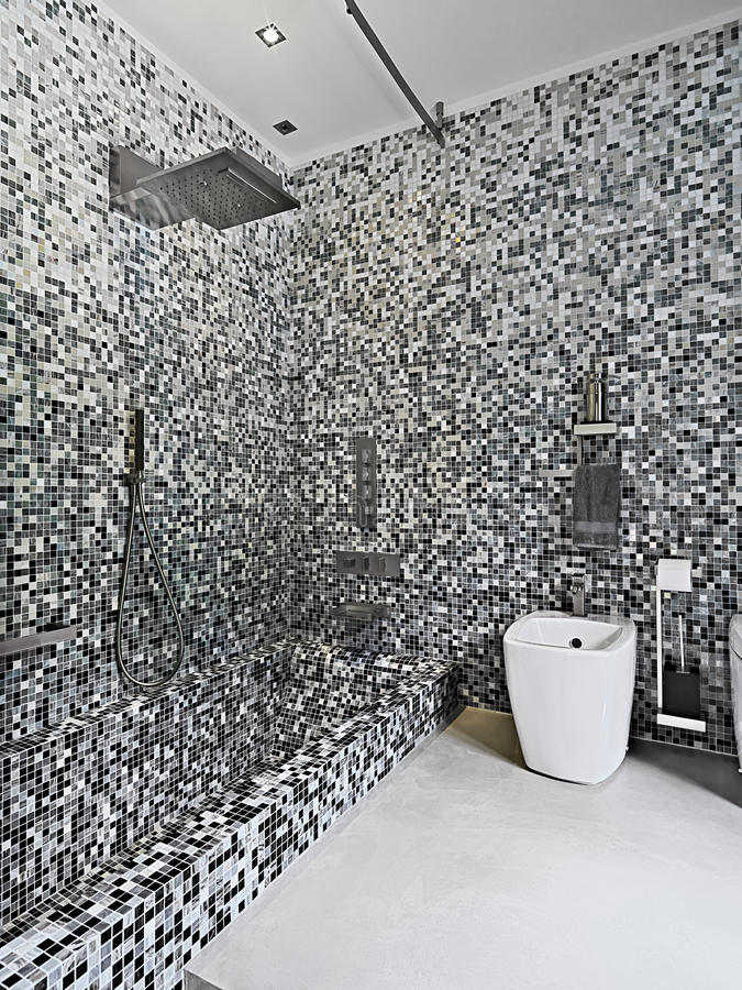 Modern Bathroom With Mosaic Tile Stock Image - Image of steel ...