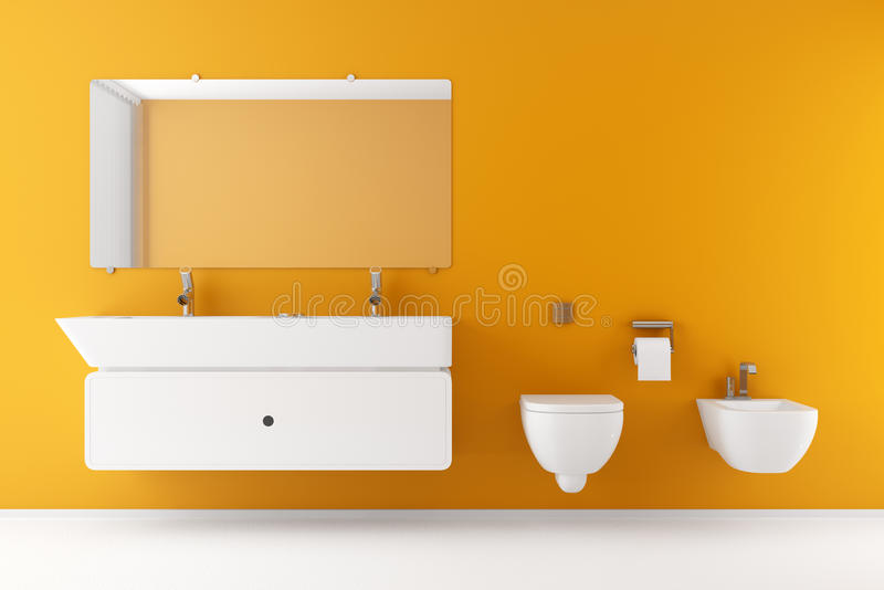 Download Modern Bathroom With Orange Wall Stock Illustration - Illustration: 15713034