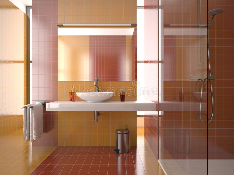 Modern bathroom with red and orange tiles. (view 1 royalty free illustration