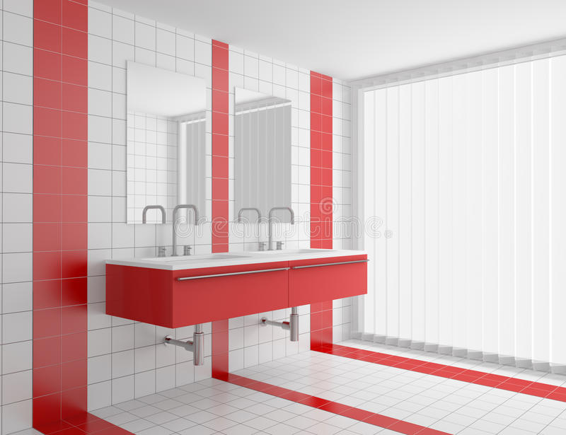 Modern Bathroom With Red And White Tiles Stock