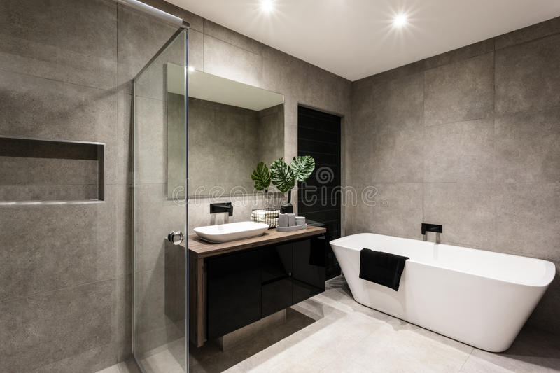 Modern bathroom with a shower area and bathtub royalty free stock image
