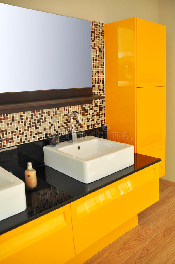 Modern bathroom sink. Detail from a modern and contemporary bathroom royalty free stock photo