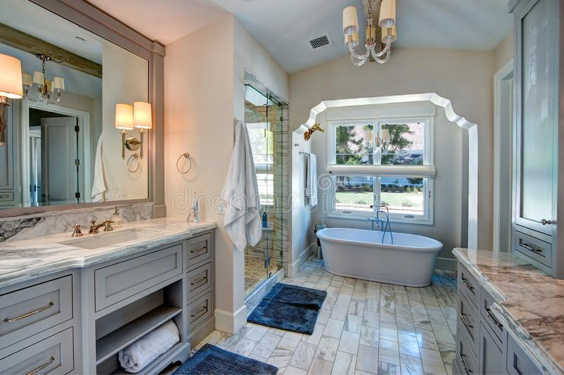 Luxurious resort mansion bathroom spa stock image