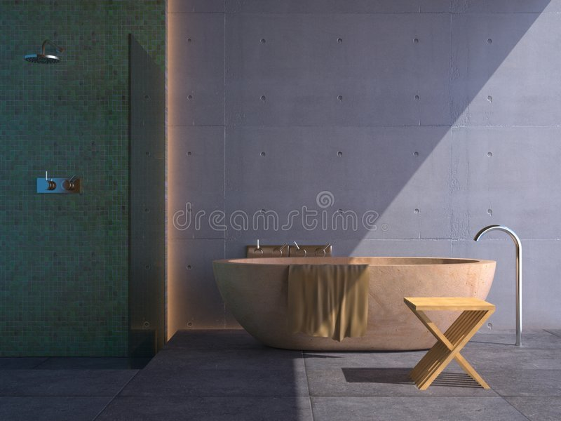 Modern bathroom (sunny) royalty free stock photography