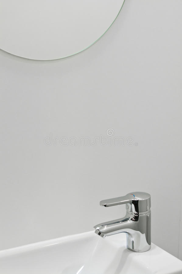 Modern bathroom tap stock image