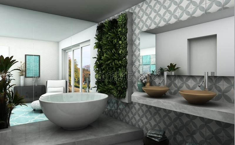 Modern bathroom with vertical garden and oriental vibe vector illustration