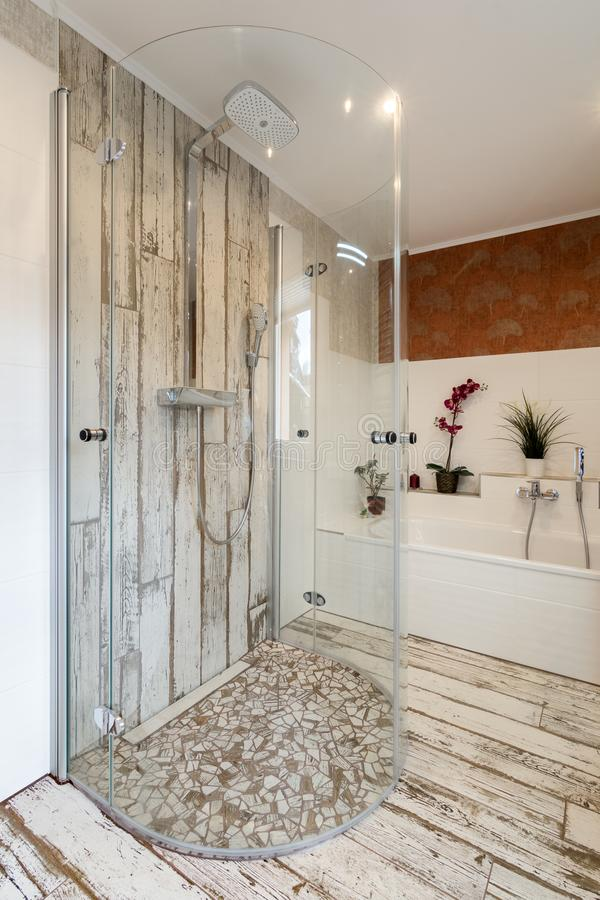 Modern Bathroom In Vintage Style With Round Glass Shower Stock Image ...
