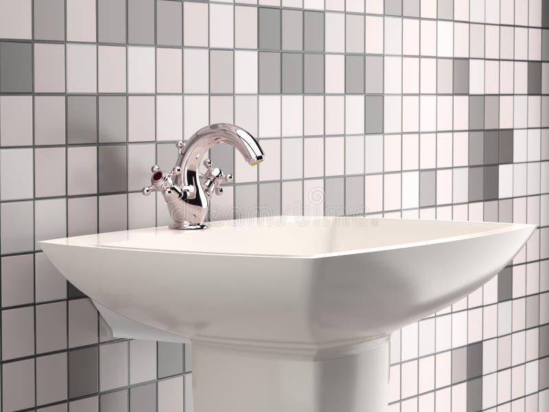 Stylish white washbasin stock photo