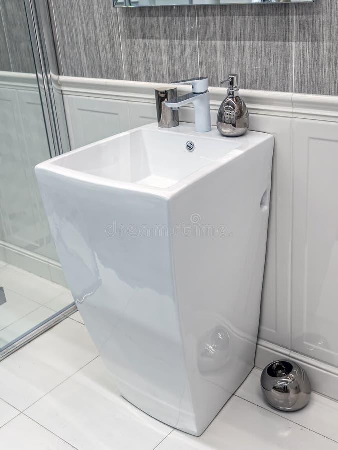 Modern bathroom washbasin stock images