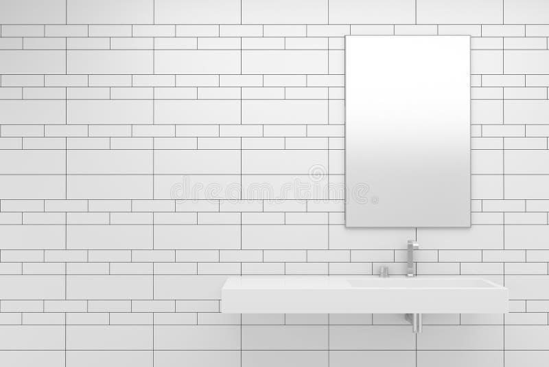 Modern bathroom with white tiles royalty free illustration