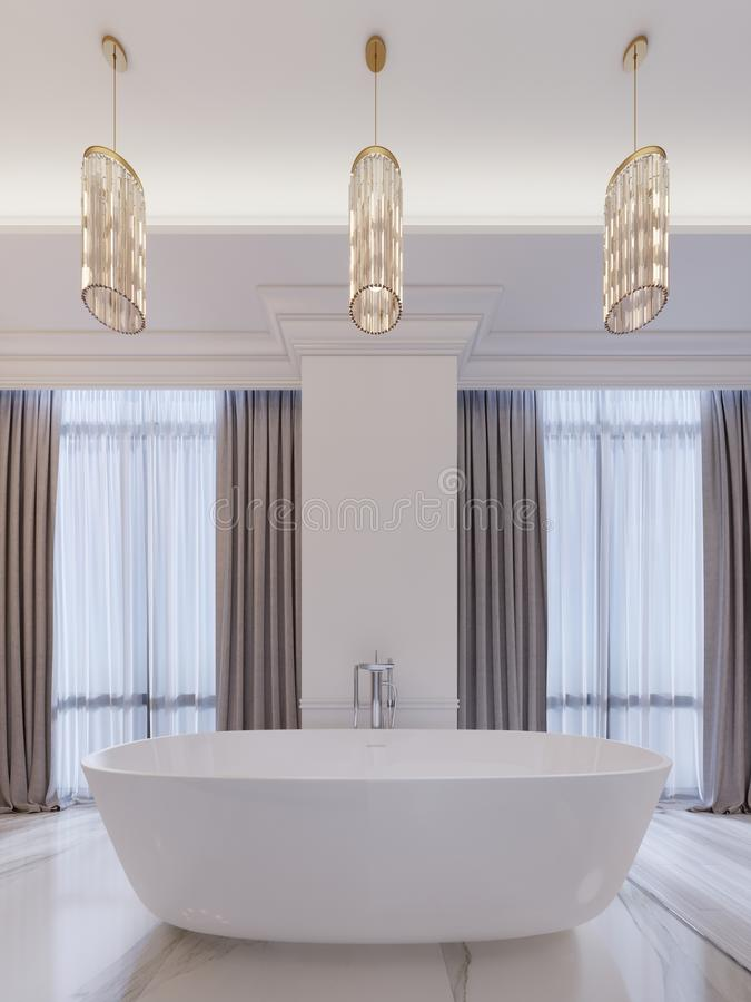 Modern bathroom with a window, hanging chandelier, curtains, bathroom. 3d rendering royalty free illustration