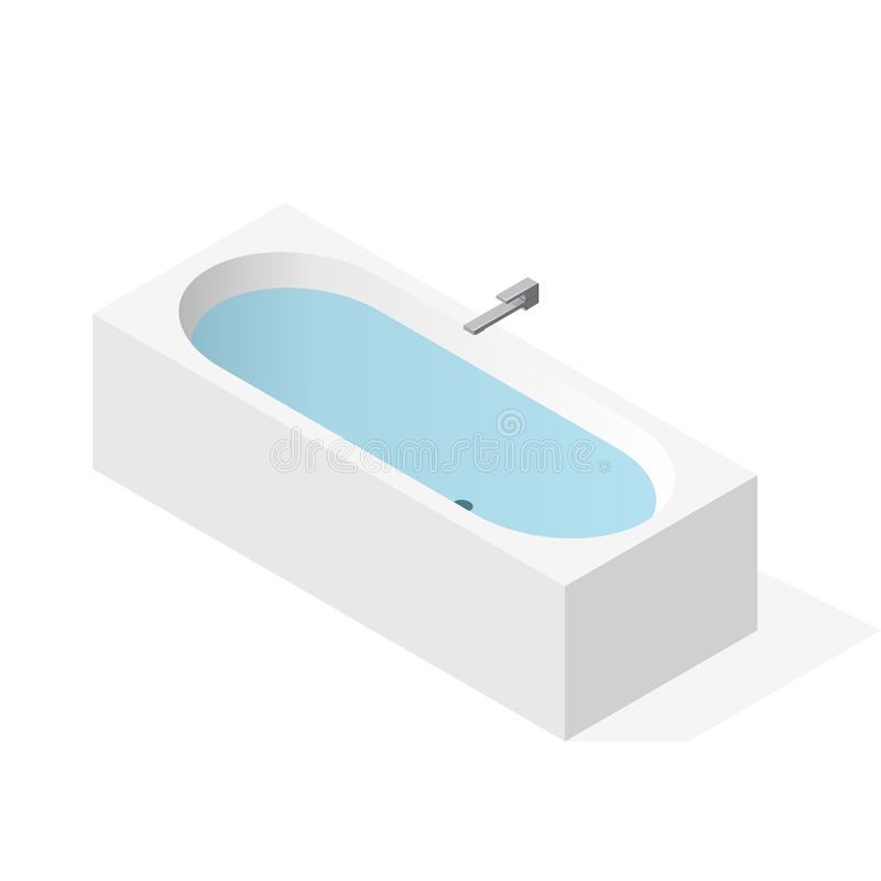 Modern bathtub filled with water. Vector bath tub, isometric perspective. royalty free illustration