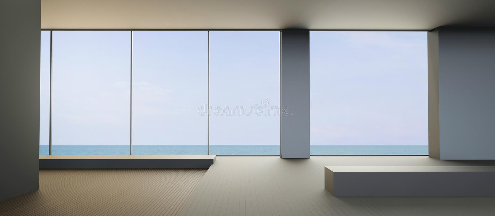 Modern Beach living contemporary and Clean seat on Sea view. Modern Beach living contemporary and minimal Clean seat on Sea view in Holiday / 3d rendering stock photos