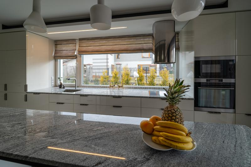 Modern beautiful kitchen with home furnishings in luxury home stock image