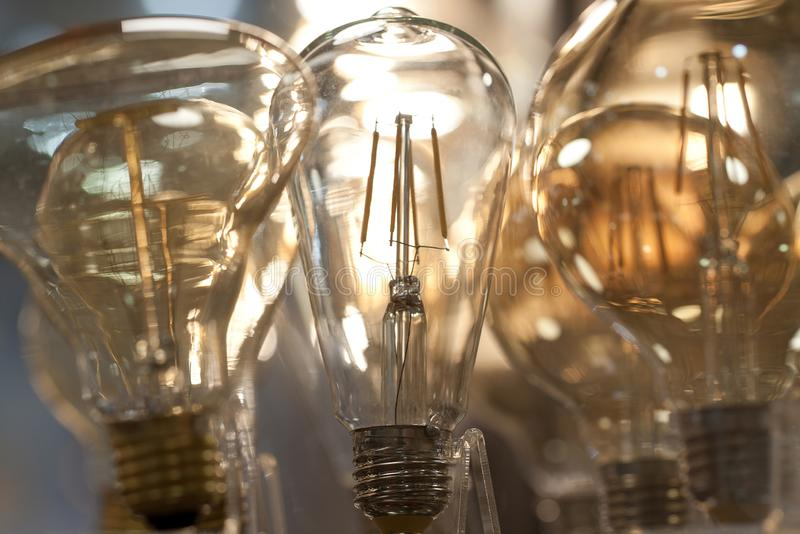 Modern beautiful lamps of different shapes royalty free stock photos
