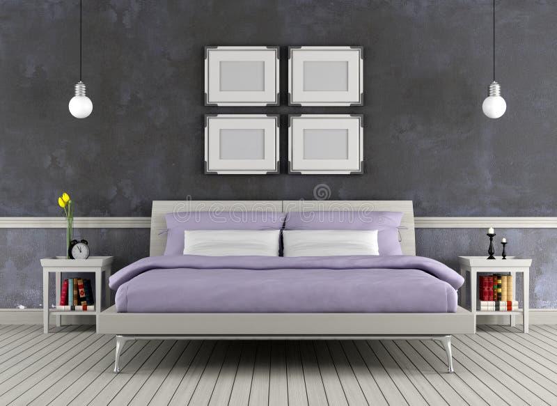 Modern bed in een uitstekende ruimte stock illustratie