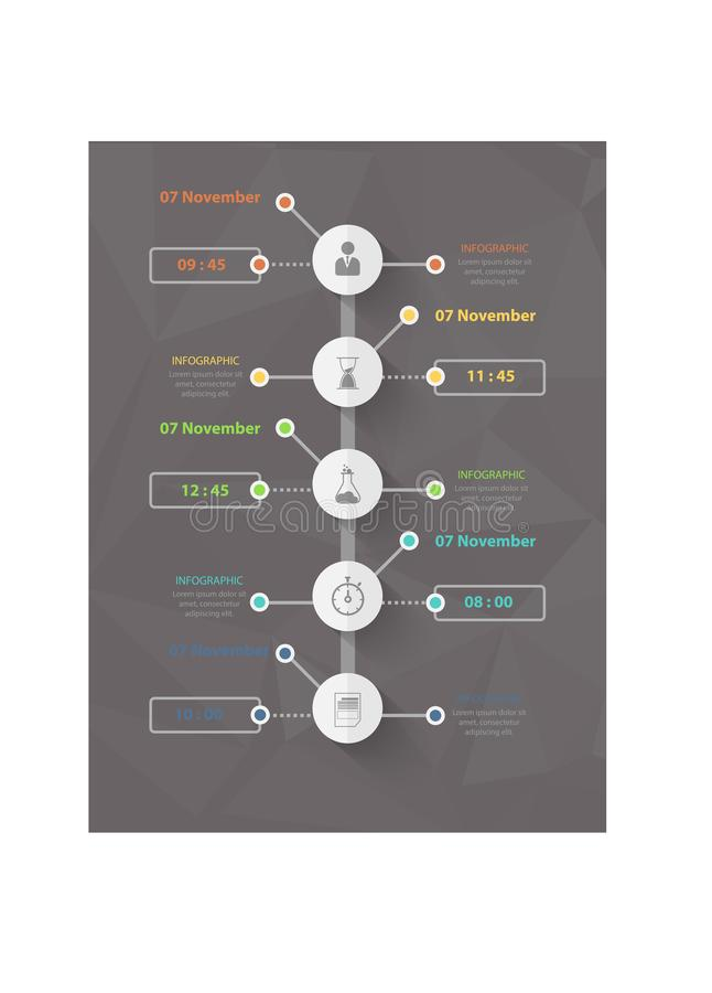Modern bedrijfs infographic malplaatje, achtergrond met grafiek, vier stappen, stock illustratie