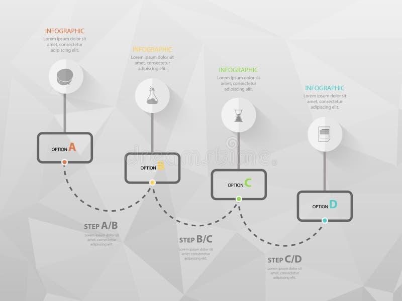 Modern bedrijfs infographic malplaatje, achtergrond met grafiek, vier stappen, royalty-vrije illustratie