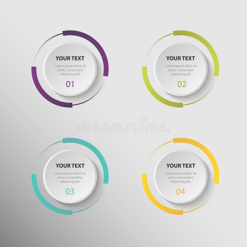 Modern bedrijfs kleurrijk pictogrammen infographic malplaatje stock illustratie